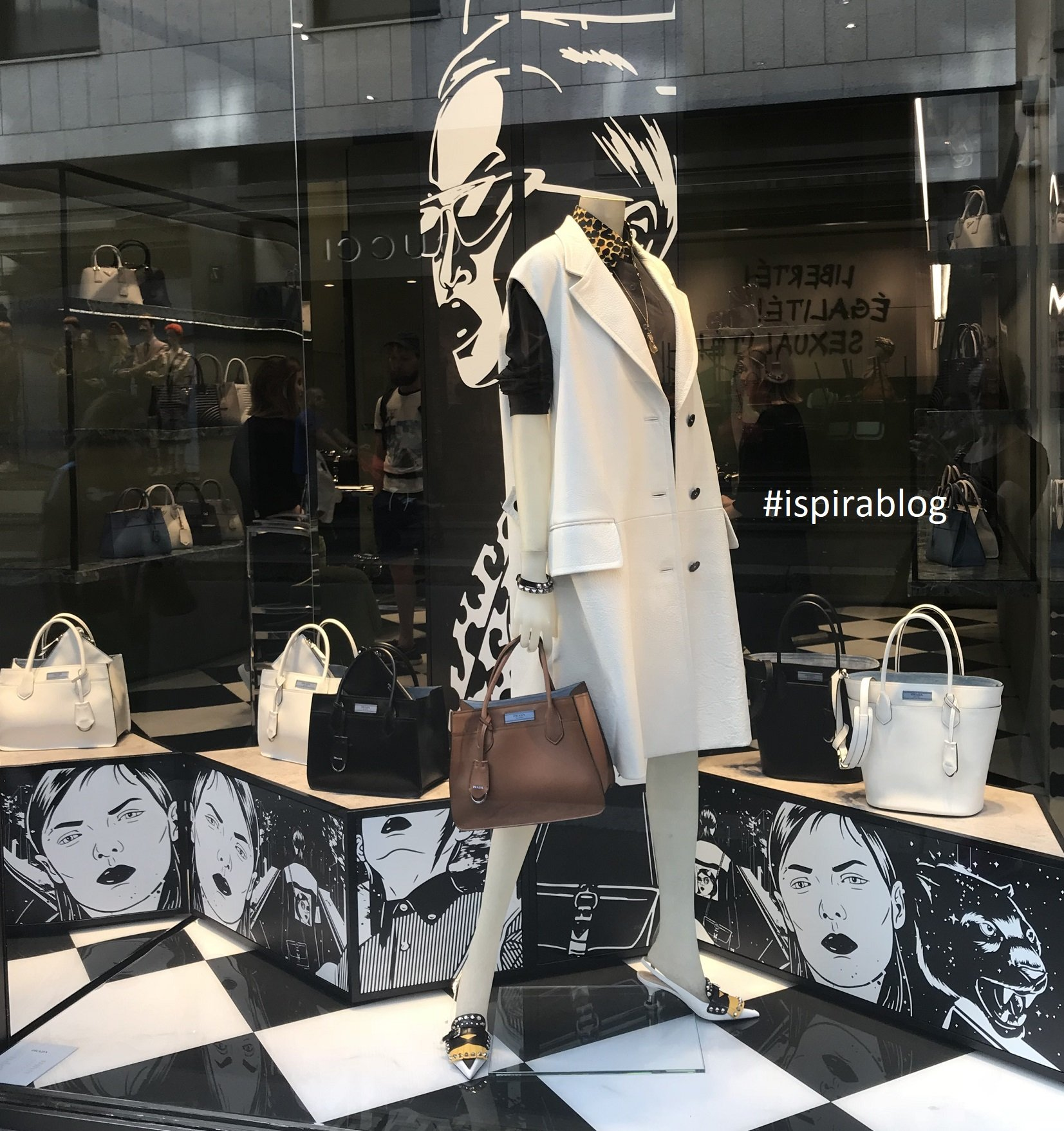 ... Prada - Milan - Summer 2018 - Womenswear Collection - black and white outfit with heeled shoes and leather handbags in three colours 2018-06-27 ...
