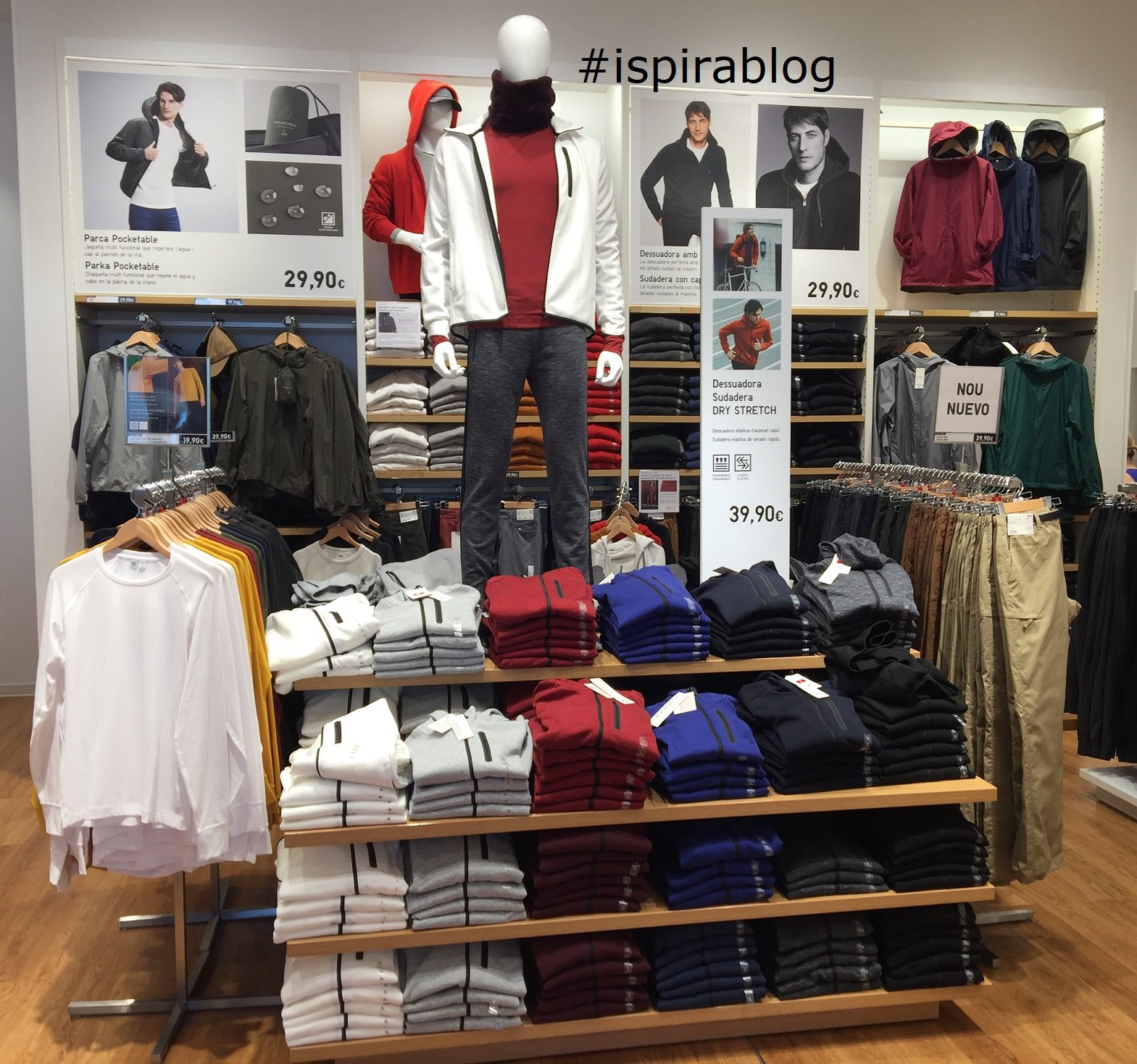 e66fabc8 ... Uniqlo - Barcelona - Autumn 2018 - Menswear Collection - breathable  fabric sweatshirts, long sleeve t-shirts and cotton trousers 2018-10-10 ...