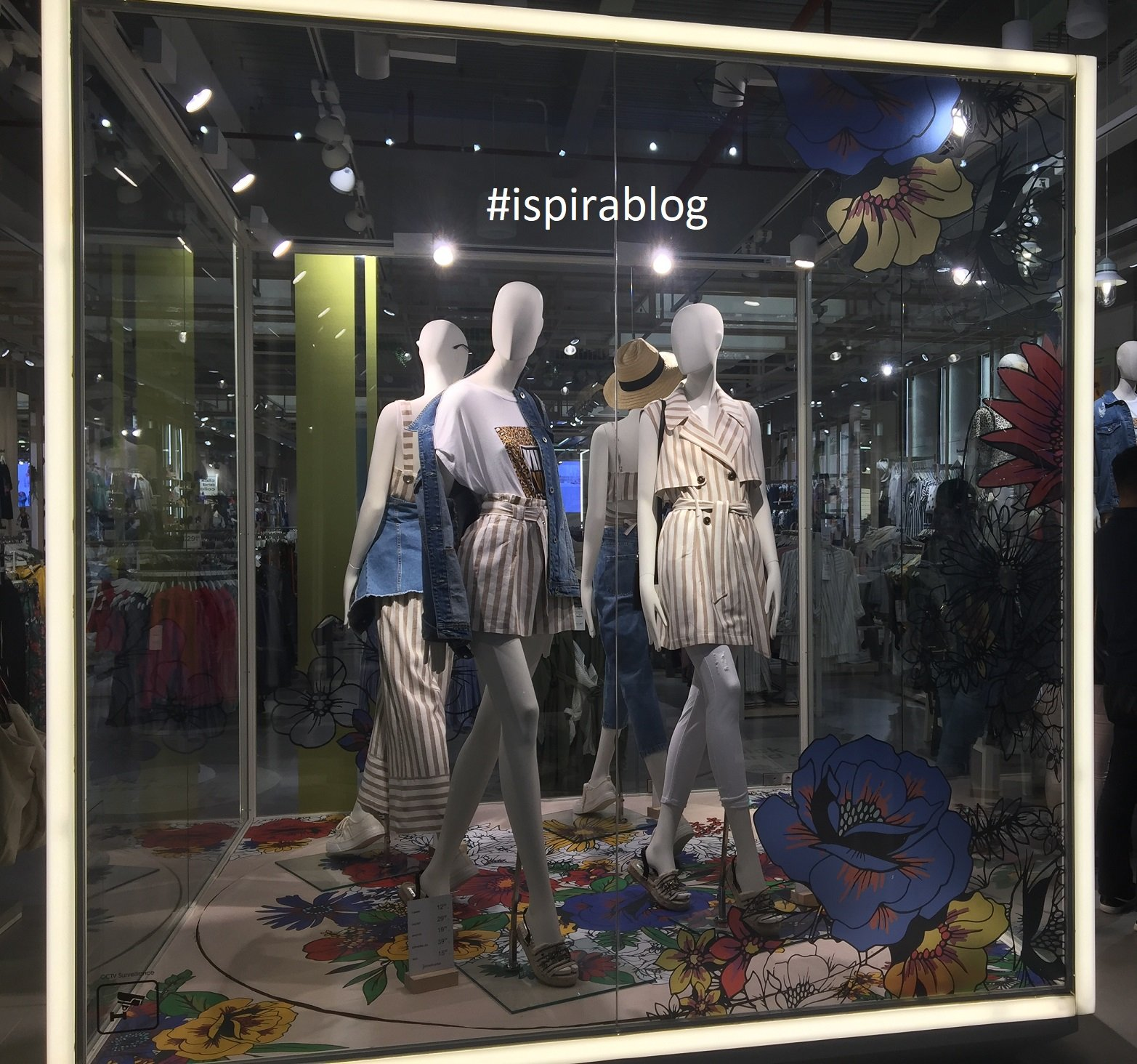 68a776dd0c1 ... Stradivarius - London - Spring 2018 - Womenswear Collection - white and  beige striped outfits with jeans shirts 2018-06-04 ...
